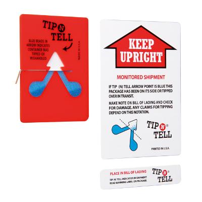 Le moniteur Tip'n'Tell avec étiquette d'accompagnement